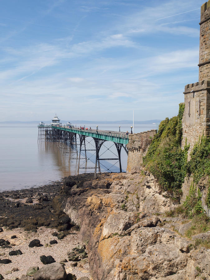 Clevedon Pier & Toll House, Somerset, England royalty free stock image