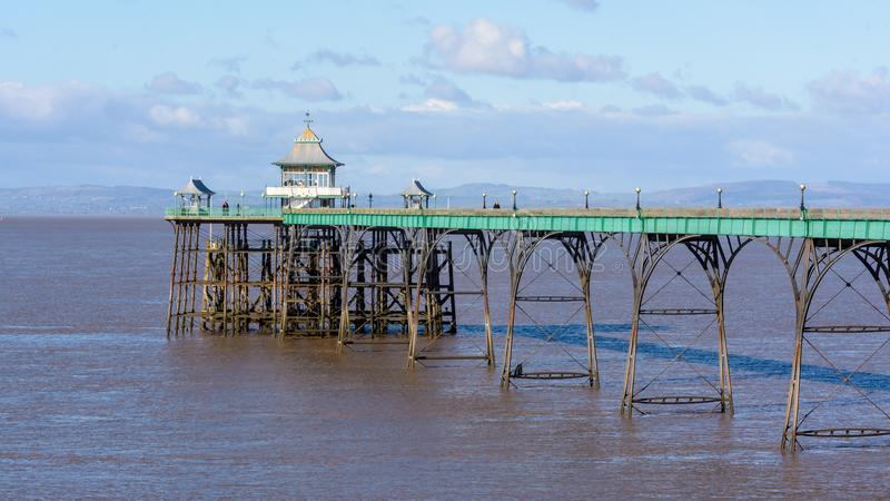 Clevedon Pier in Winter. Victorian Pleasure Pier, designated a Grade I listed building, built in 1860s stock photography