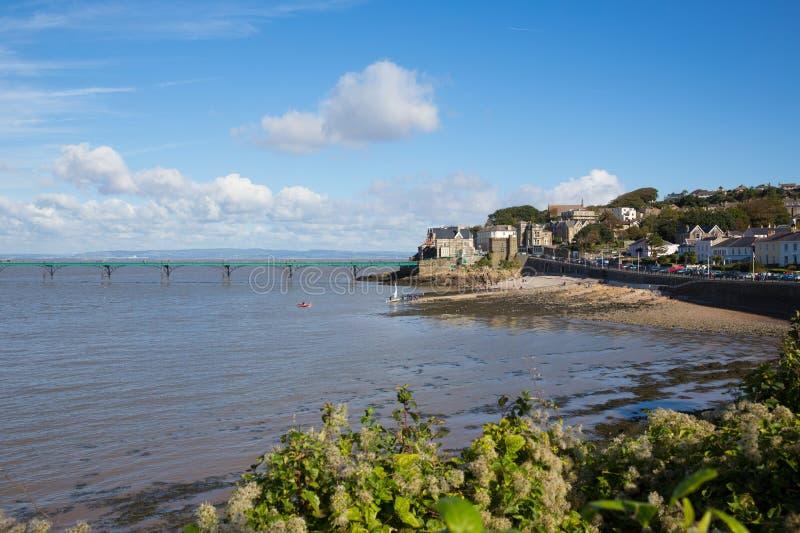 Clevedon Somerset pir och sjösida på kuststaden nära Bristol och Weston-toppen-sto arkivfoton