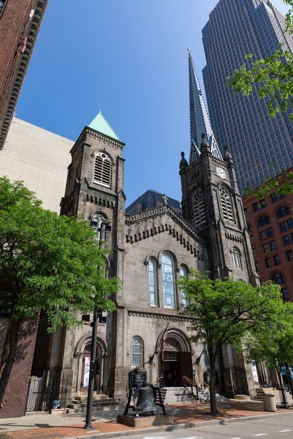 Cleveland's gammal stenkyrka royaltyfri bild