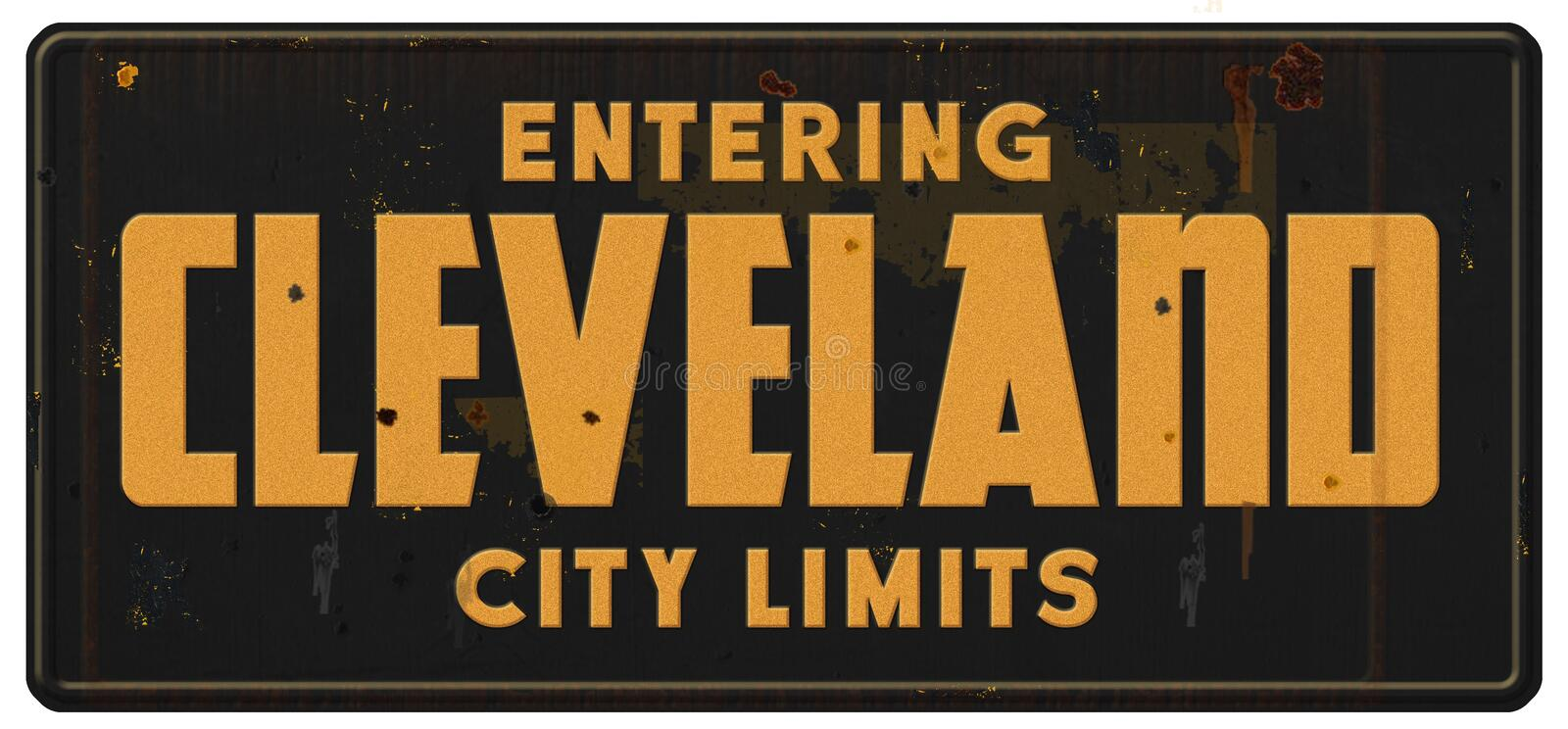 Cleveland City Limits Sign Grunge Metal Retro. Ohio vintage Welcome Entering OH stock photos
