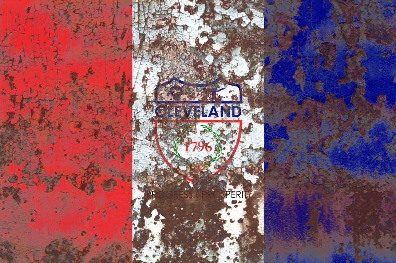 Cleveland city smoke flag, Ohio State, United States Of America.  stock images