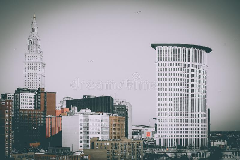 Cityscape of Downtown Cleveland, Ohio royalty free stock images