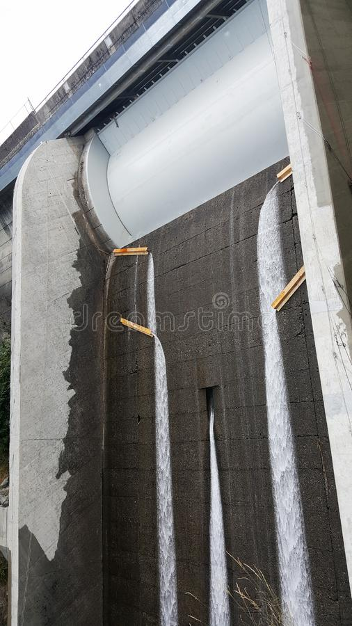 Cleveland Dam spillway in North Vancouver, Canada. On Capilano river royalty free stock photo