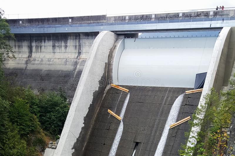 Cleveland Dam spillway in North Vancouver, Canada. On Capilano river stock images