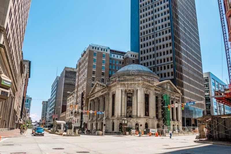 Cleveland Euclid Avenue rua do leste na 9a fotos de stock