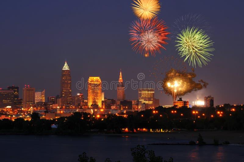 Cleveland fireworks. Fireworks burst over downtown Cleveland, Ohio royalty free stock image