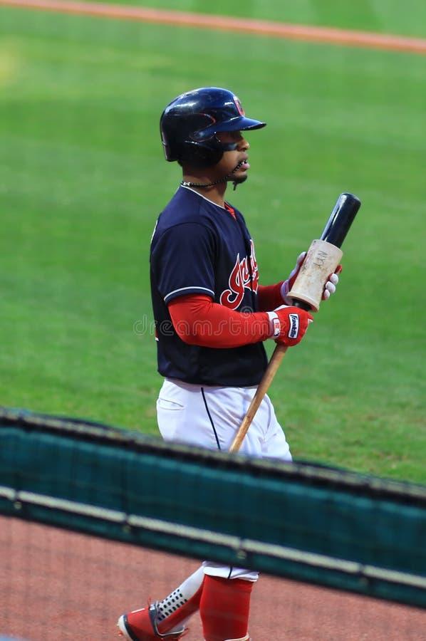 Francisco Lindor, Cleveland Indians Baseball game. Cleveland Indians Major League Baseball game at Progressive Field in Cleveland , Ohio, USA royalty free stock image