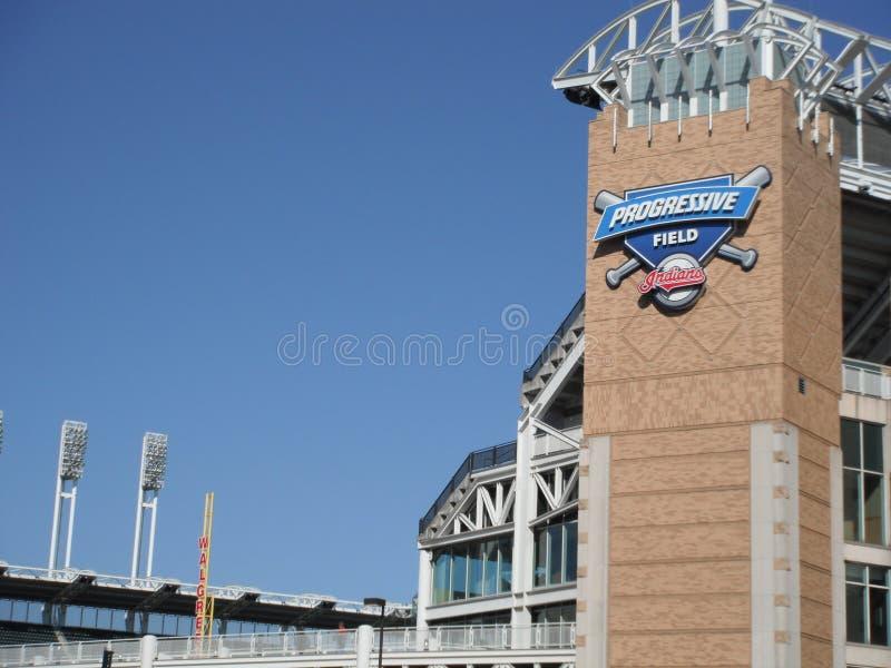 Cleveland Indians at Progressive Field. Cleveland Indians playing at Progressive Field against the Kansas City Royals stock images