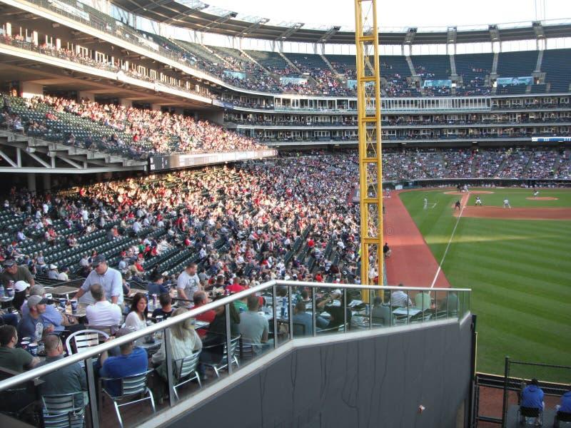 Cleveland Indians at Progressive Field. Cleveland Indians playing at Progressive Field against the Kansas City Royals stock photo