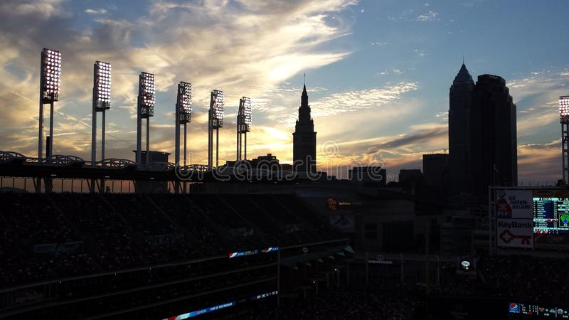 Cleveland Indians Sunset royalty-vrije stock foto's