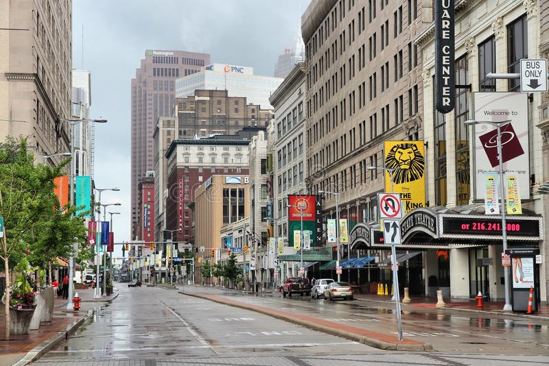 Cleveland. JUNE 29: View along famous Euclid Avenue on June 29, 2013 in .  is the 2nd largest urban area in Ohio with 2+ million people stock photo