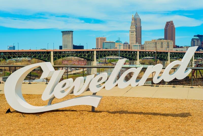 Cleveland linia horyzontu i znak obrazy royalty free