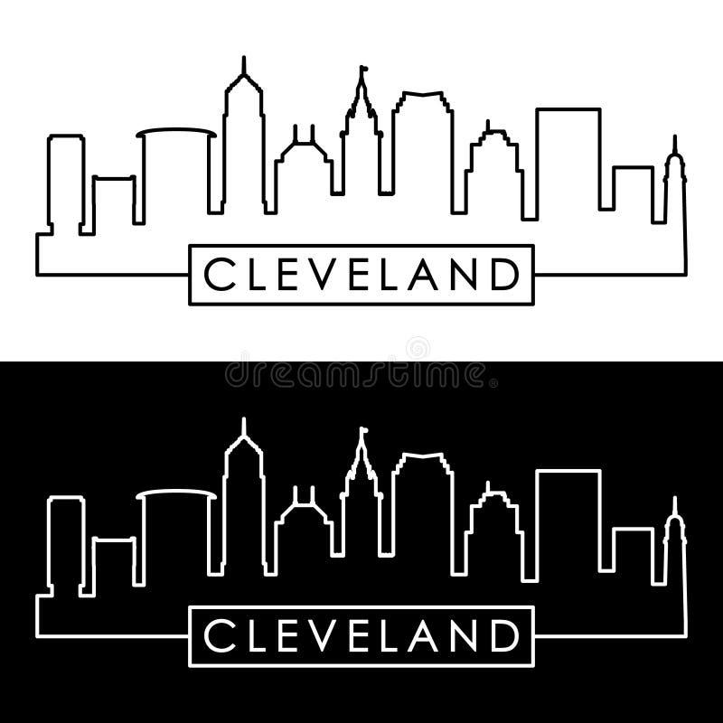 Cleveland liniowa linia horyzontu Kreskowa sztuka royalty ilustracja