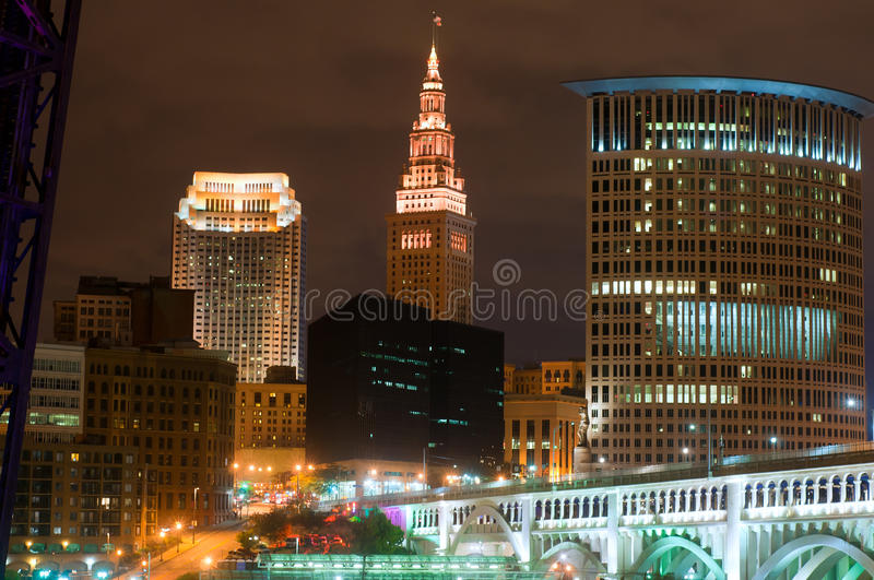Cleveland lit up stock photography