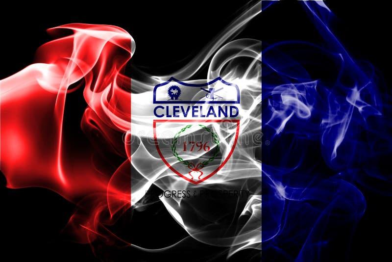 Cleveland miasta dymu flaga, Ohio stan, Stany Zjednoczone Ameryka ilustracji