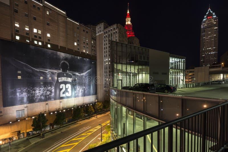 Cleveland na celebração da noite fotografia de stock