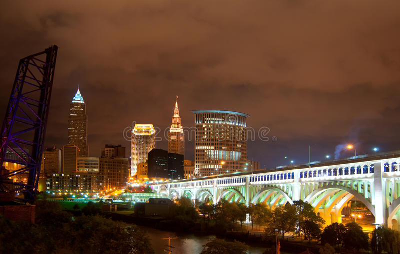 Cleveland at night stock photography
