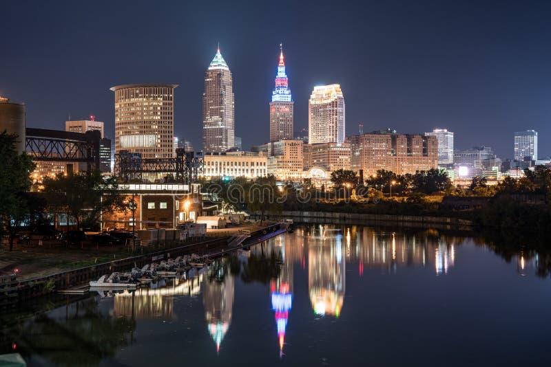Cleveland Night Skyline fotografia de stock