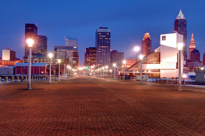 cleveland noc Ohio linia horyzontu fotografia stock