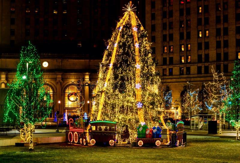 Plaza Xmas tree stock photos
