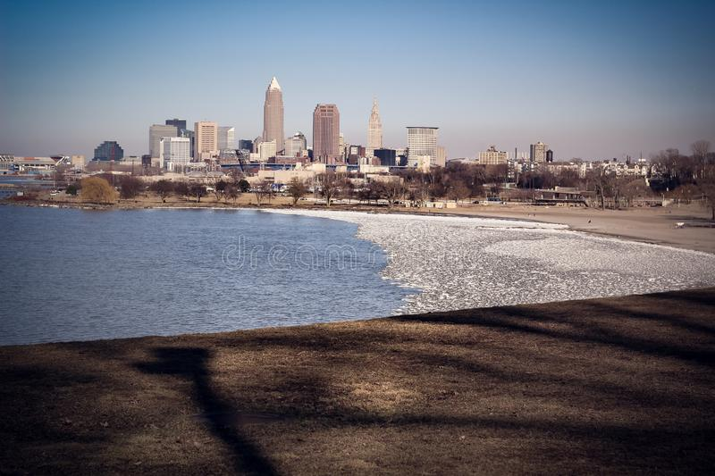 Cityscape of Downtown Cleveland, Ohio. In the winter royalty free stock image