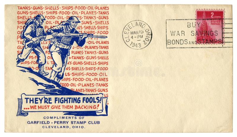 Cleveland, Ohio, de V.S. - 19 Maart 1943: De historische envelop van de V.S.: dekking met patriottisch cachet bestrijden zij dwaz royalty-vrije stock afbeelding