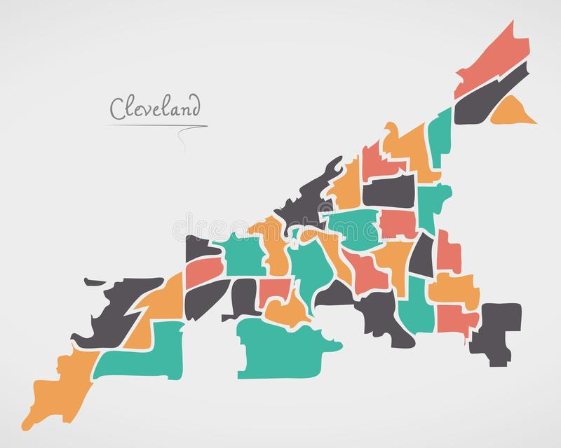 Cleveland Ohio Map with neighborhoods and modern round shapes. Illustration vector illustration