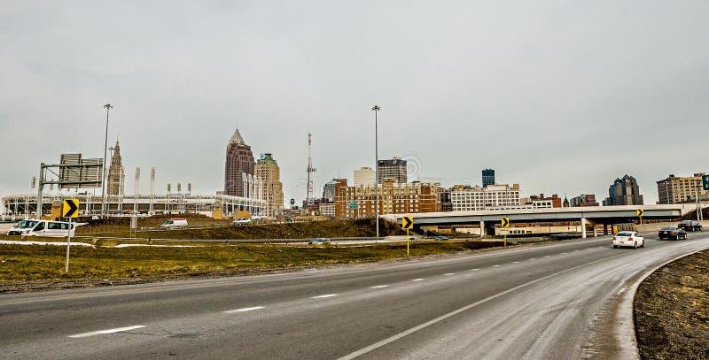 Cleveland Ohio miasta linii horyzontu dzień fotografia royalty free