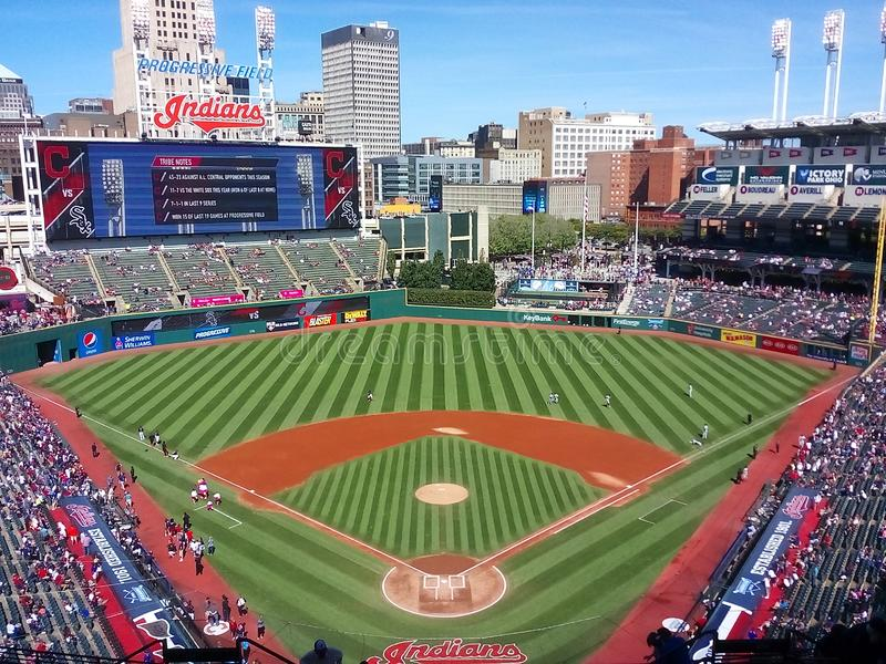 Cleveland Ohio and Progressive Field. Progressive Field is a baseball park located in the downtown area of Cleveland, Ohio, United States. It is the home field stock image