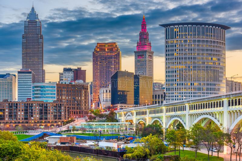 Cleveland, Ohio, USA downtown city skyline on the Cuyahoga River. At twilight royalty free stock images