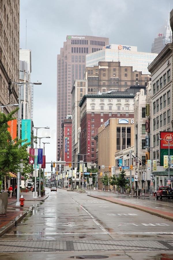 Cleveland, Ohio. CLEVELAND, USA - JUNE 29, 2013: View along famous Euclid Avenue in Cleveland. Cleveland is the 2nd largest urban area in Ohio with more than 2 royalty free stock image