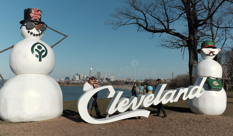 Cleveland, Ohio, USA saw record high February temperatures stock photo