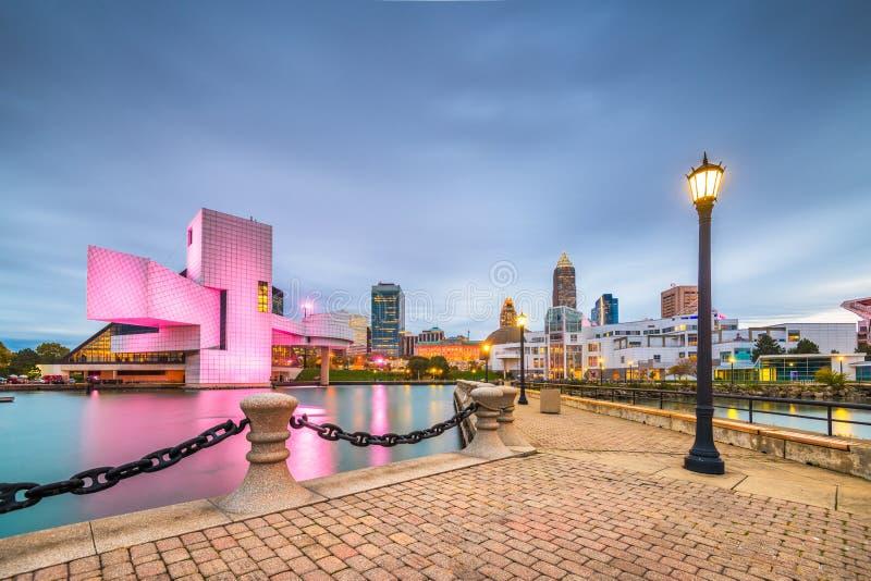 Cleveland, Ohio, USA-Ufergegend Skylin stockbilder