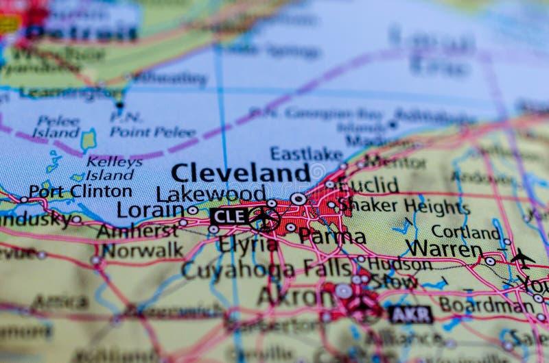 Cleveland op kaart royalty-vrije stock afbeelding