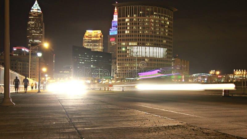 Cleveland-Skyline nachts stockfoto