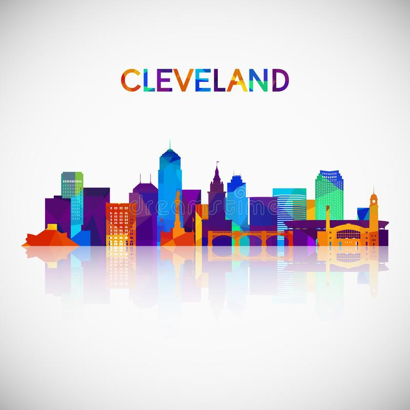 Cleveland skyline silhouette in colorful geometric style. vector illustration