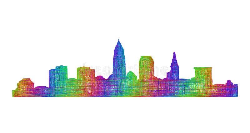 Cleveland skyline silhouette - multicolor line art royalty free illustration