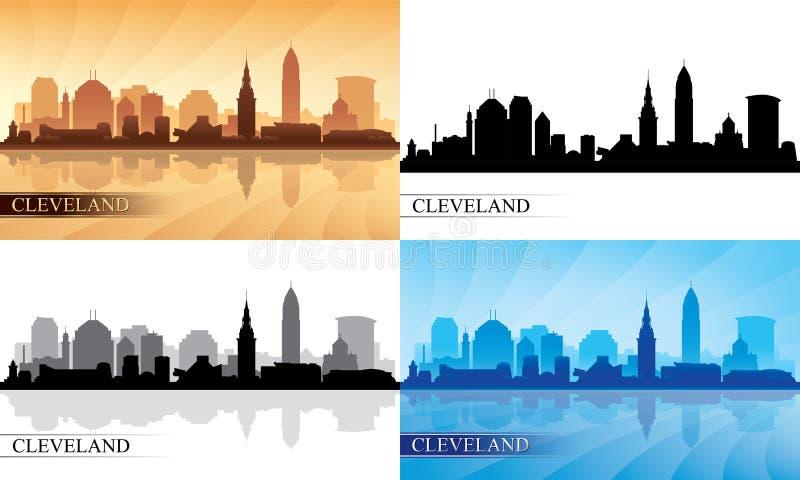 Cleveland skyline silhouettes Set royalty free illustration
