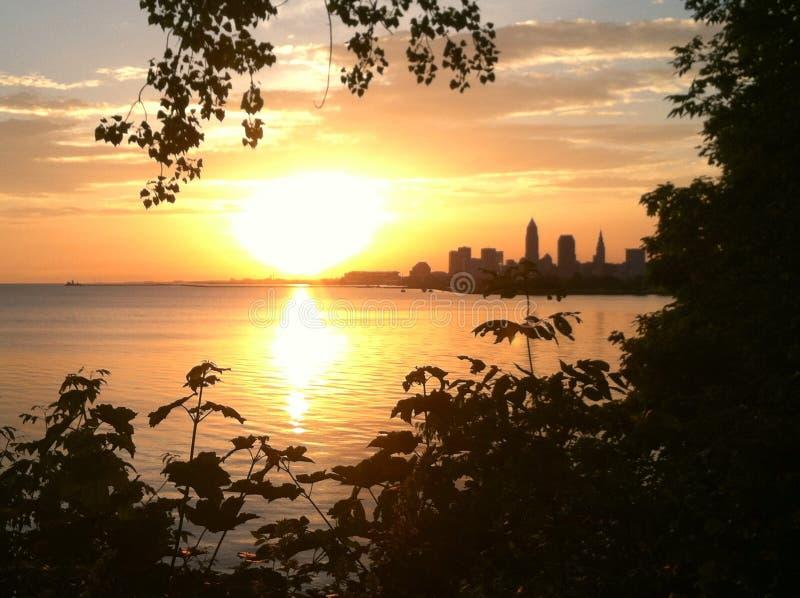 Cleveland-Sonnenaufgang stockbilder