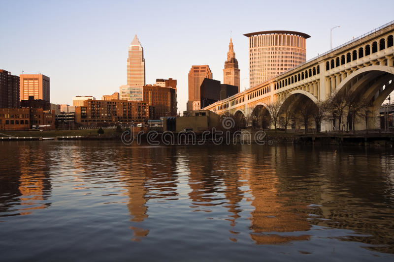 Cleveland at sunset royalty free stock images