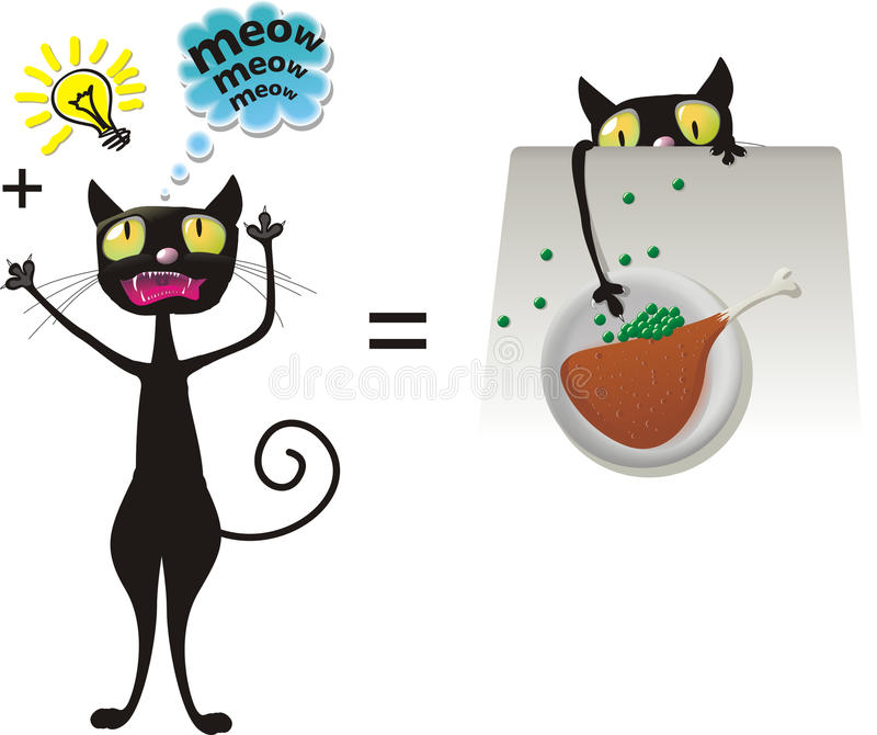 Clever cat. Sly cat wants to steal a food vector illustration