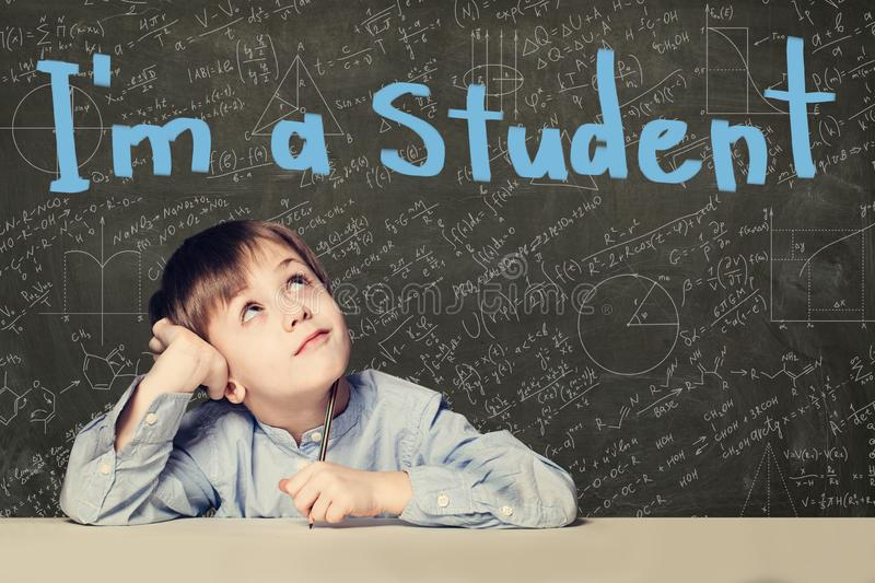 Clever child pupil on blackboard background portrait royalty free stock photo