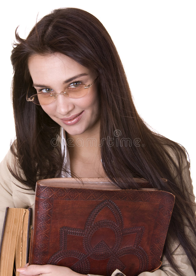 Download Clever Girl With Heap Book. Stock Image - Image: 9140163