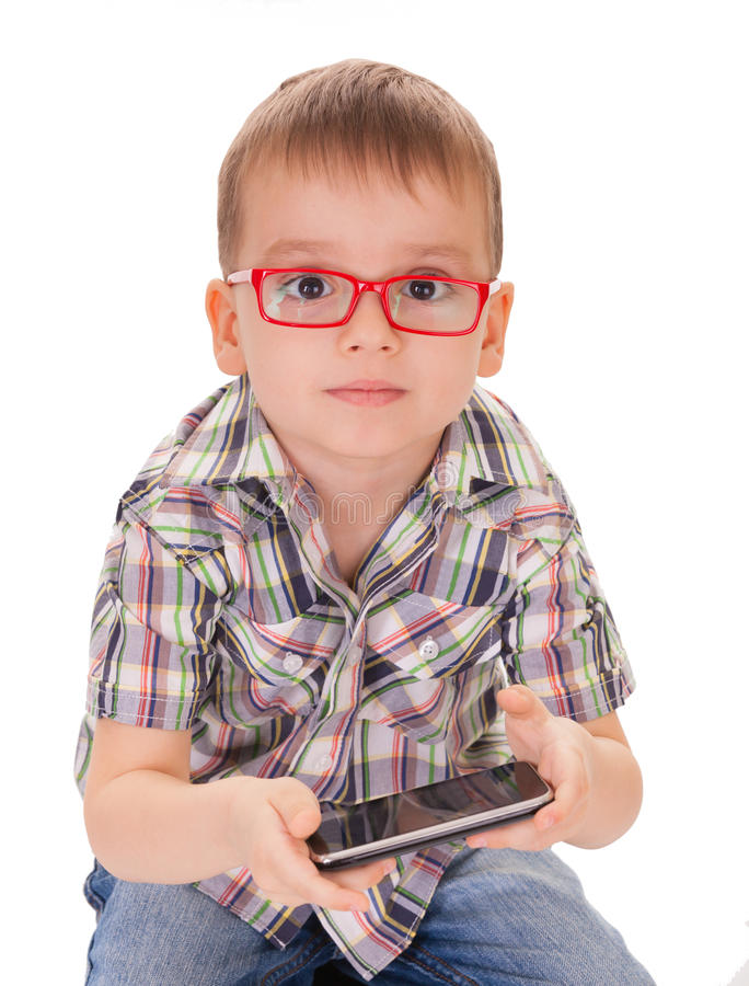 Download Clever Kid Play Smart Phone Stock Photo - Image: 28489930