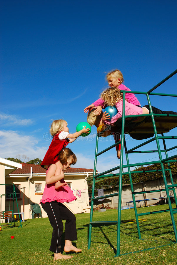 Clever kids team playing stock images