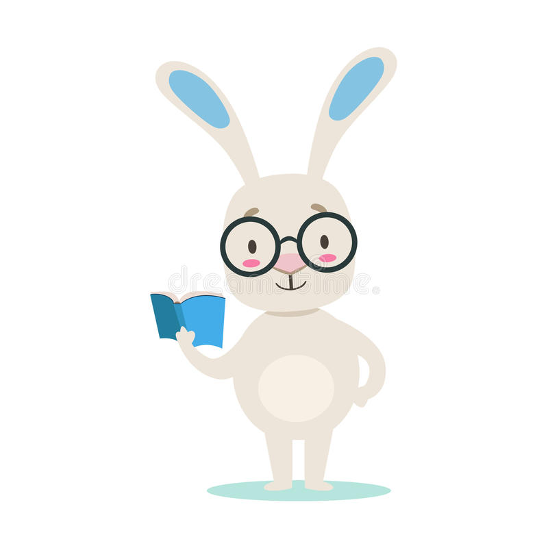 Clever Little Girly Cute White Pet Bunny Wearing Glasses Reading A Book, Cartoon Character Life Situation Illustration. Humanized Rabbit Baby Animal And Its royalty free illustration
