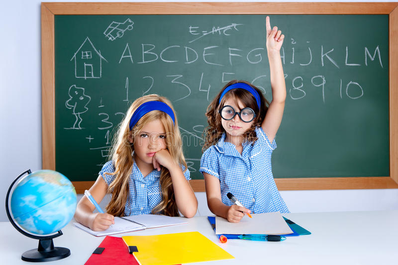 Download Clever Nerd Student Girl In Classroom Raising Hand Stock Image - Image: 20511965