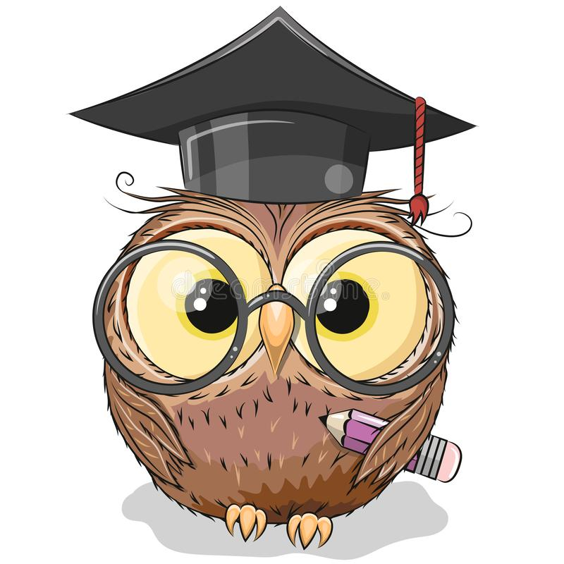 Clever owl with pencil and in graduation cap vector illustration