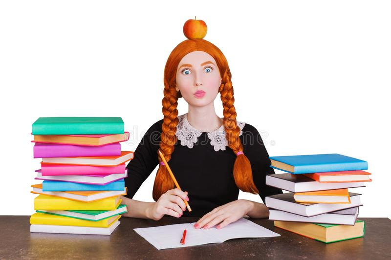 Clever redhead college girl look camera isolated on white background. Surprised student in uniform is going to college. Clever student shows emotions. Back to stock photo